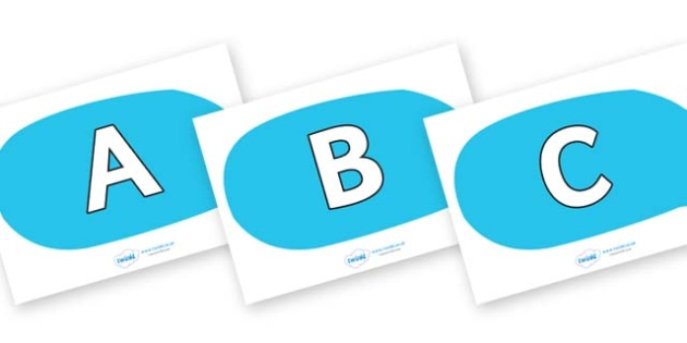A-Z Alphabet on Speech Bubbles - A-Z, A4, display, Alphabet frieze, Display letters, Letter posters, A-Z letters, Alphabet flashcards