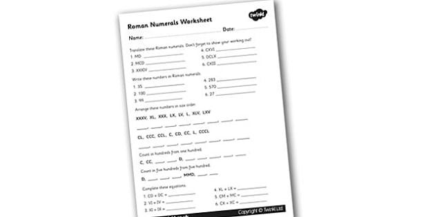 Roman Numerals Worksheet - roman, roman numerals, numerals