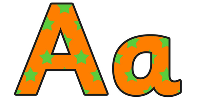 Orange and Green Stars Small Lowercase Display Lettering - stars display lettering, lowercase display lettering, display lettering, stars