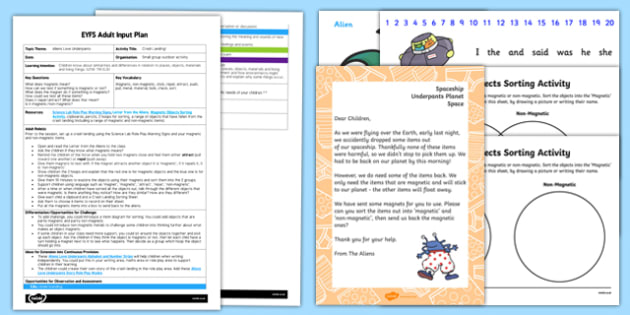 EYFS Crash Landing Adult Input Plan and Resource Pack to Support Teaching on Aliens Love Underpants