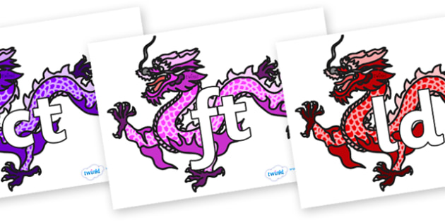 Final Letter Blends on Chinese Dragons (Multicolour) - Final Letters, final letter, letter blend, letter blends, consonant, consonants, digraph, trigraph, literacy, alphabet, letters, foundation stage literacy