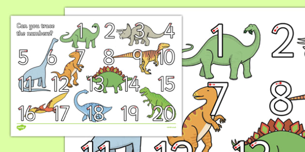 Dinosaur Themed Number Formation 1-20 Activity Sheet - dinosaur, number formation, 1-20, activity sheet, worksheet, overwriting