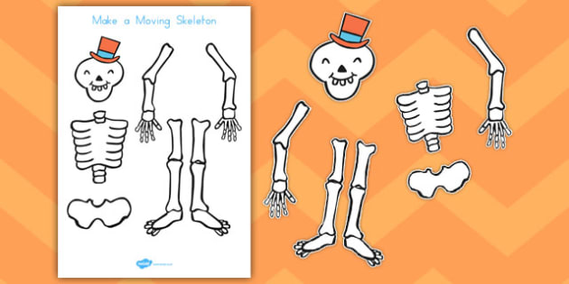 Make a Moving Skeleton to Support Teaching on Funnybones - science, design, craft, paper, split pins, cut, out, scissors, model, display