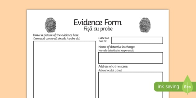 Detective Role Play Evidence Form Romanian Translation-Romanian-translation