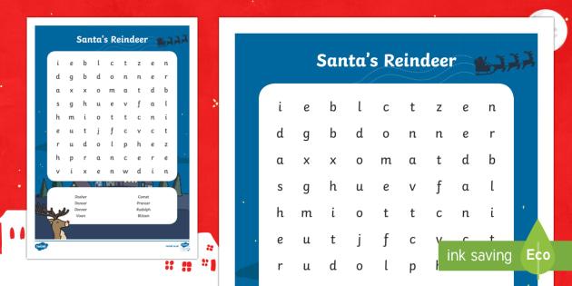 Santa's Reindeer Word Search