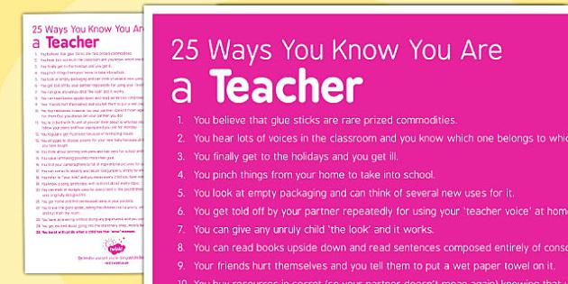 25 Ways You Know You Are a Teacher - teacher, 25 ways, know, you