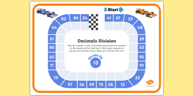 Dividing by 10 Decimals Race Worksheet - dividing, decimals, race, worksheet