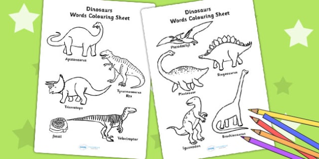 Dinosaur Words Colouring Sheet - dinosaurs, colour, colouring