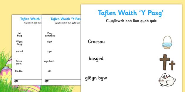 Taflen Waith 'Y Pasg' - welsh, cymraeg, Pasg, geirfa, lluniau, paru, easter, matching