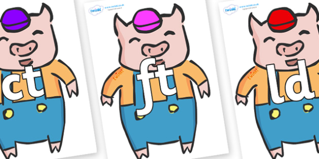 Final Letter Blends on Little Pig - Final Letters, final letter, letter blend, letter blends, consonant, consonants, digraph, trigraph, literacy, alphabet, letters, foundation stage literacy