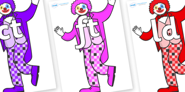 Final Letter Blends on Clowns - Final Letters, final letter, letter blend, letter blends, consonant, consonants, digraph, trigraph, literacy, alphabet, letters, foundation stage literacy