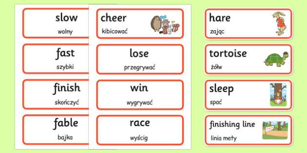 The Tortoise and The Hare Word Cards Polish Translation - polish, tortoise and the hare, word cards