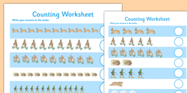 Beatrix Potter - The Story of a Fierce Bad Rabbit Differentiated Counting Sheet - beatrix potter, fierce, bad, rabbit