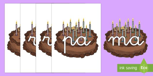Tarjetas de sílabas: Pastel de cumpleaños - lecto, leer, primeros sonidos,