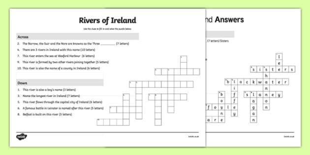 Rivers of Ireland Crossword-Irish