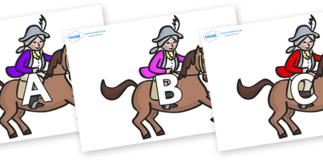 A-Z Alphabet on King's Horses - A-Z, A4, display, Alphabet frieze, Display letters, Letter posters, A-Z letters, Alphabet flashcards