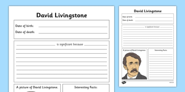 Scottish Significant Individuals David Livingstone Writing Frame - Scottish significant individual, explorer, Christian missionary, Africa, Victoria Falls, Zambezi, slave trade, anti-slave