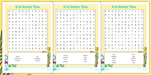 It Is Easter Time Word Search - it is easter time, easter, easter time, chocolate, bunny, word search