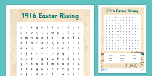1916 Rising Word Search - Easter 1916 Rising, irish history, worksheet, wordsearch