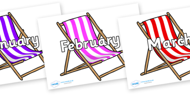 Months of the Year on Deck Chairs - Months of the Year, Months poster, Months display, display, poster, frieze, Months, month, January, February, March, April, May, June, July, August, September