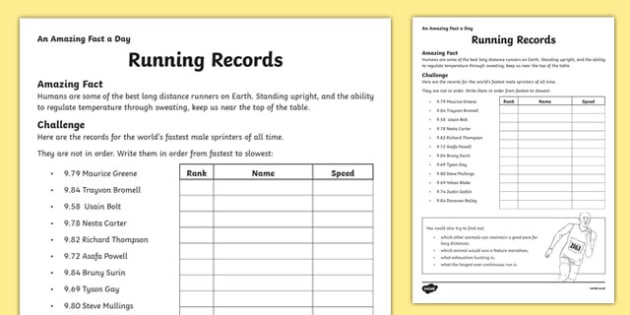 Running Records Activity Sheet, worksheet