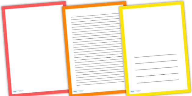 Multicolour Page Borders - writing templates, writing frames