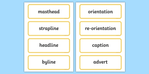 Features of a Newspaper Word Cards - features, newspaper, word cards