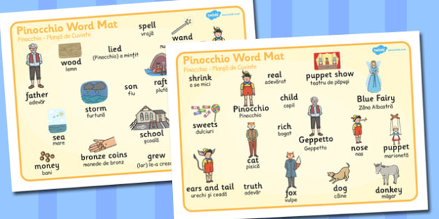 Pinocchio Word Mat Romanian Translation - romanian, pinocchio