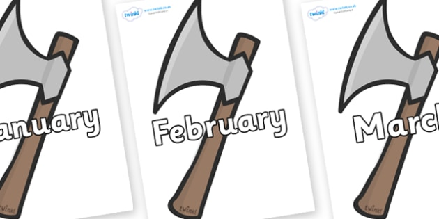 Months of the Year on Axes - Months of the Year, Months poster, Months display, display, poster, frieze, Months, month, January, February, March, April, May, June, July, August, September