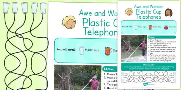 Plastic Cup Telephones Awe and Wonder Science Activity - science
