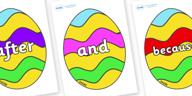Connectives on Easter Eggs (Striped) - Connectives, VCOP, connective resources, connectives display words, connective displays