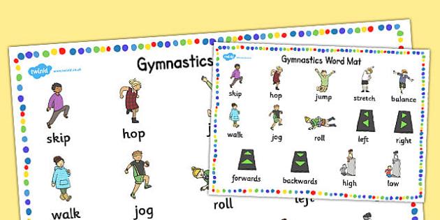 Gymnastics Instructions Word Mat - instructions, word mat, mat