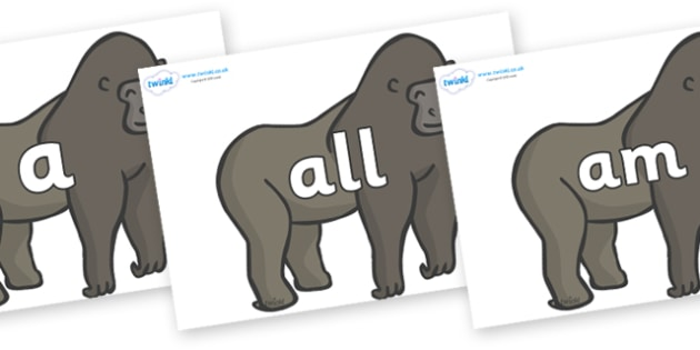 Foundation Stage 2 Keywords on Gorillas - FS2, CLL, keywords, Communication language and literacy,  Display, Key words, high frequency words, foundation stage literacy, DfES Letters and Sounds, Letters and Sounds, spelling