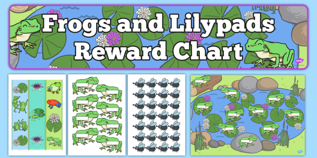 Frogs and Lily pads Reward Display Pack - frogs, lilypads, reward, display