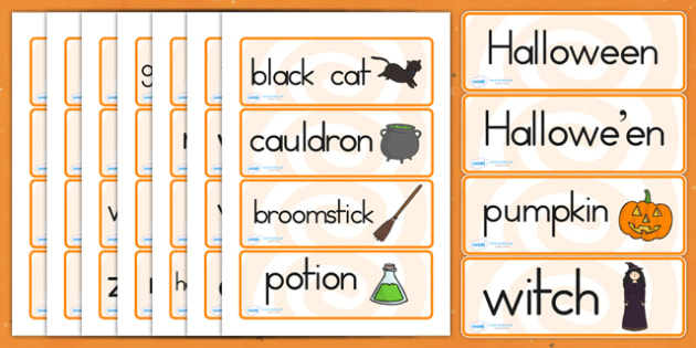 Halloween Word Cards - halloween, halloween word cards, halloween words, halloween cards, halloween prompt cards, halloween flash cards, writing, reading