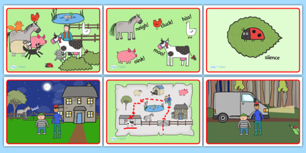 Story Sequencing to Support Teaching on What the Ladybird Heard - what the ladybird heard, story sequencing, story sequencing worksheet, worksheet, ordering, sequencing