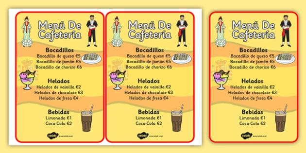 Spanish Cafe Role Play Menu - food, shops, menus, Spain, activity