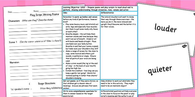 Prepare Poems and Play Scripts to Perform Lesson Ideas Resources