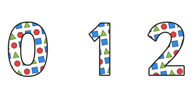 Shapes Display Numbers Small - 2d shapes, shape numbers, shape themed numbers, shapes display lettering, shape display, shape themed numbers and letters