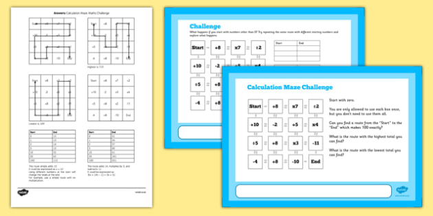 Sum Maze Maths Challenge A4 Display Posters - challenge, posters