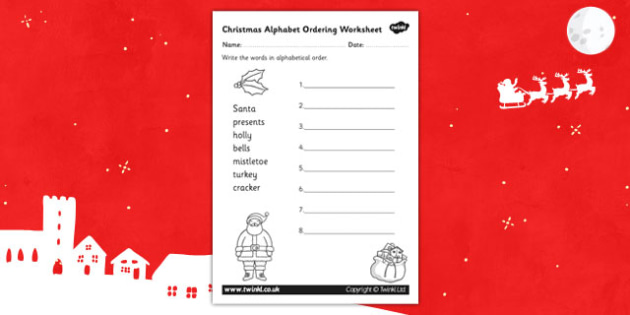 Christmas Alphabet Ordering Worksheet - worksheets, sequence