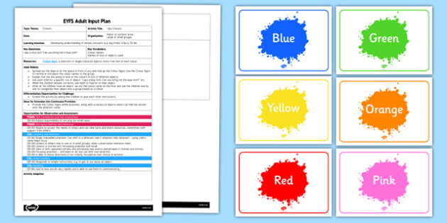 EYFS I Spy Colours Adult Input Plan and Resource Pack - EYFS, Early Years planning, adult led, listening and attention, understanding , C&L