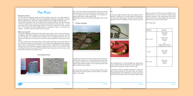 The Picts Information Sheets - CfE, Social Studies, The Picts, information sheets