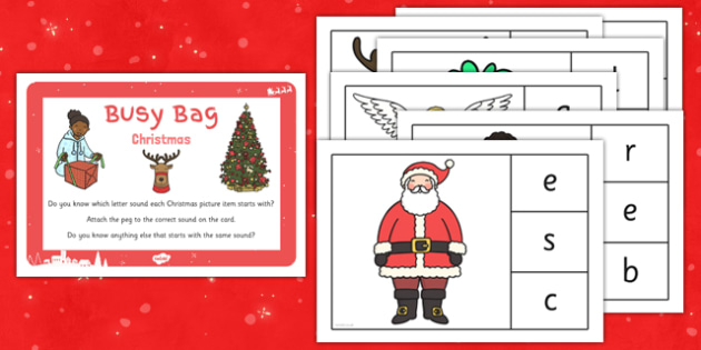 Christmas Phonic Matching Busy Bag Prompt Card and Resource Pack - christmas, phonic, matching