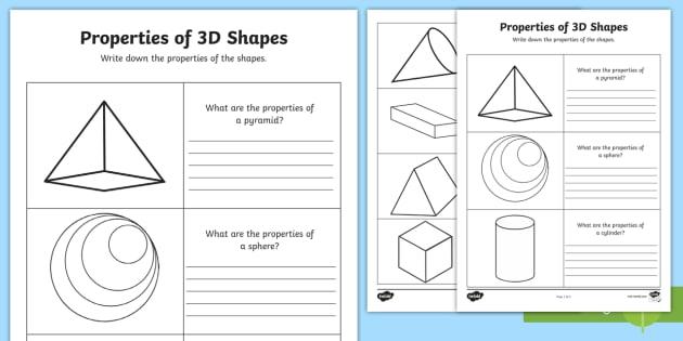 Year 2 Properties of 3D Shapes Activity Sheets - australia, shape, worksheet