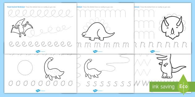 Dinosaur Pencil Control Activity Sheets - dinosaurs, dinosaur pencil control worksheets, dinosaur themed writing worksheets, pencil control worksheet, eyfs