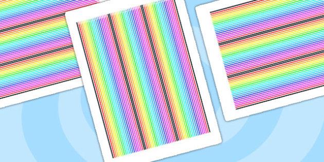Rainbow Themed Display Borders Stripes - rainbow, display borders