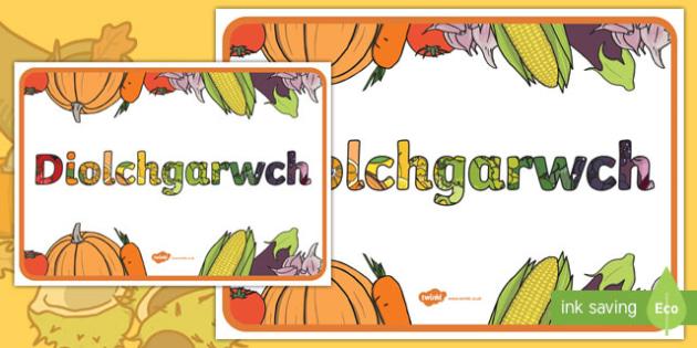 Poster Diolchgarwch Poster Arddangos A2-Welsh
