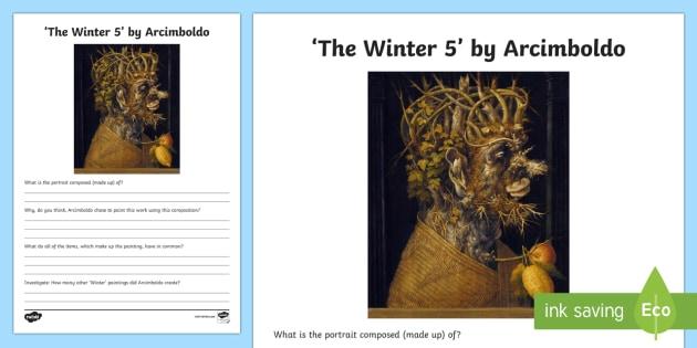 Winter 5 by Arcimboldo Activity Sheet - art appreciation, activity sheet, work sheet, Arcimboldo, 'Winter 5',Irish, worksheet