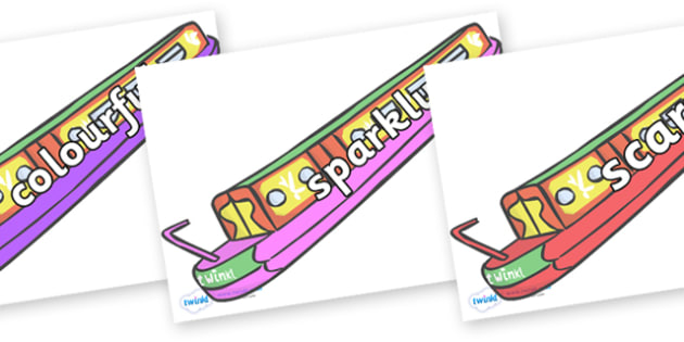 Wow Words on Narrow Boats - Wow words, adjectives, VCOP, describing, Wow, display, poster, wow display, tasty, scary, ugly, beautiful, colourful sharp, bouncy